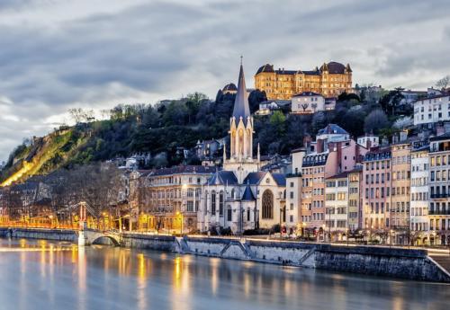 Lyon city at evening,  France